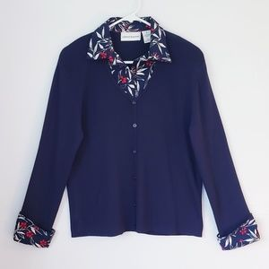 Alfred Dunner cardigan sweater w/ mock shirt sz M